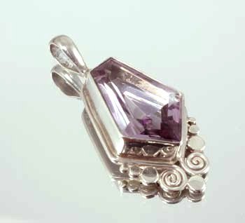 Amethyst Pendant - Triangle Drop