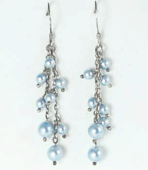 Swarovski Blue Pearl Drop Earrings