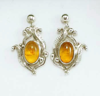 Amber Sterling Earrings