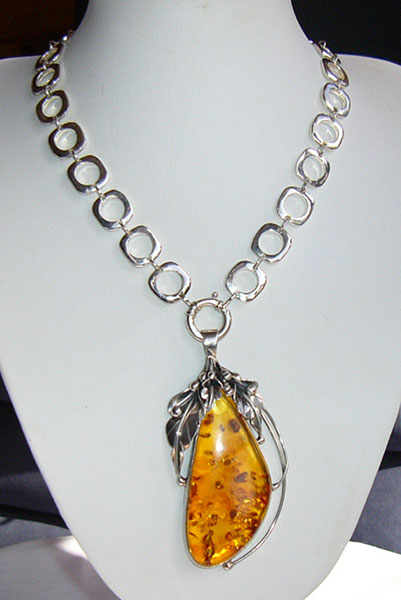 Amber Sterling Silver Necklace - Seer Necklace