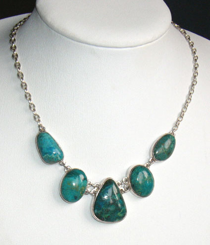 Chrysocolla Sterling Silver Necklace - Earth Mother Necklace