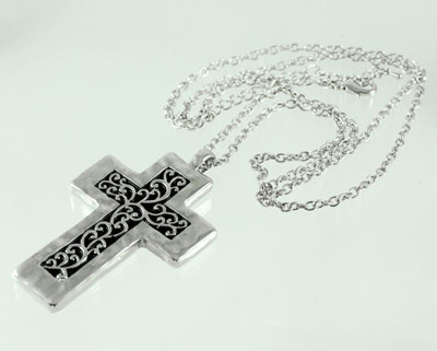 Silver Rhodium large Cross with Fern