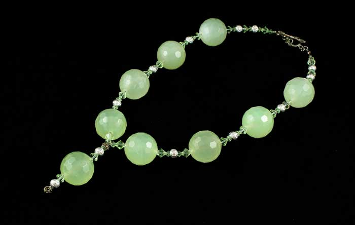 Fabulous Faceted Green Jade Necklace