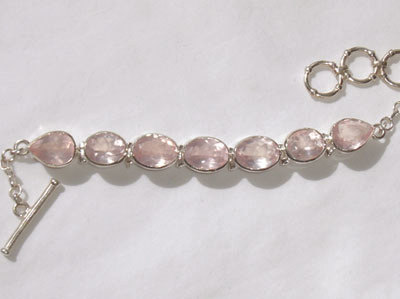 Rose Quartz Bracelet Faceted Sterling Silver