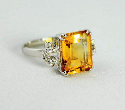 Citrine Faceted Ring